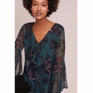 Anthropologie Femme Floral Ruffle Blouse - Large